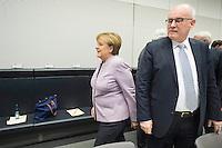 11 FEB 2017, BERLIN/GERMANY:<br /> Angela Merkel (L), CDU, Bundeskanzlerin, und Volker Kauder (R), CDU, CDU/CSU Fraktionsvorsitzender, vor Beginn der CDU/CSU Fraktionssitzung am Vortag der Bundesversammlung, Reichstagsgebaeude, Deutscher Bundestag<br /> IMAGE: 20170211-01-002