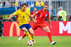 July 7, 2018 - Samara, Russia - 180707 Jordan Henderson of England and Albin Ekdal of Sweden competes for the ball during the FIFA World Cup quarter final match between Sweden and England on July 7, 2018 in Samara..Photo: Petter Arvidson / BILDBYRÃ…N / kod PA / 92083 (Credit Image: © Petter Arvidson/Bildbyran via ZUMA Press)