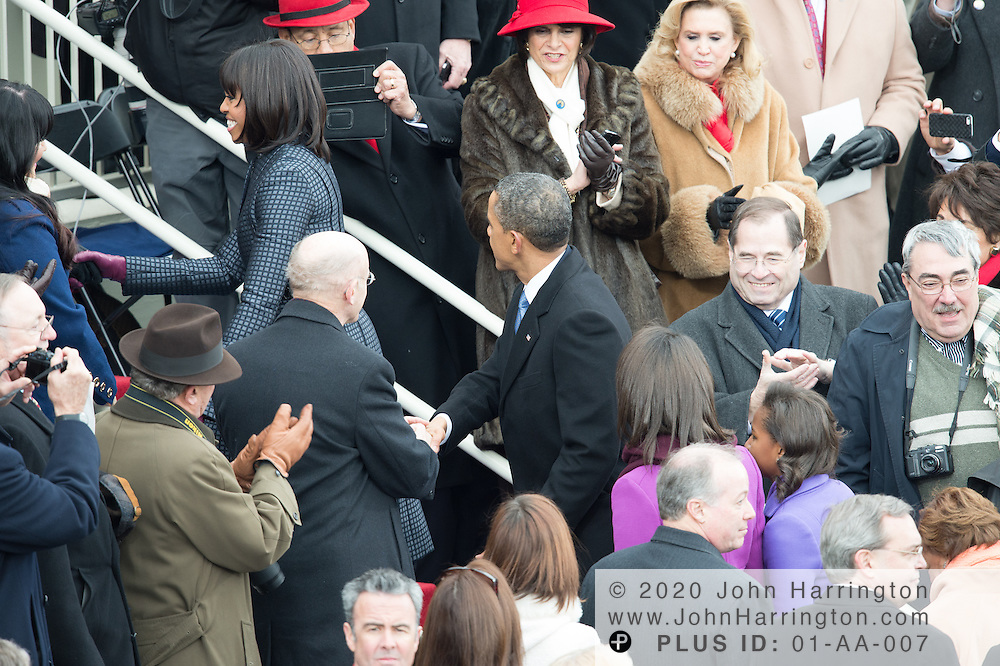 President Obama is greeted by well-wishers after his second inauguration during the 57th Presidential Inauguration of President Barack Obama at the U.S. Capitol Building in Washington, DC January 21, 2013.