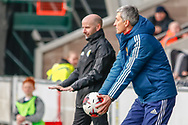 Dmitri Khomukha - Russia U17s Head Coach tries to hurry his team along while Brian Mclaughlin Scotland U17 Head Coach looks to calm his players down during the U17 European Championships match between Scotland and Russia at Simple Digital Arena, Paisley, Scotland on 23 March 2019.