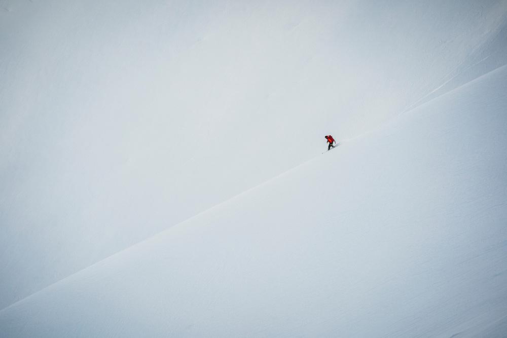 Ronald Grozdanovic - Bosnia- heads off piste at Karakol Ski Area - Day 2 2020 Silk Road Freeride Competition Karakol.