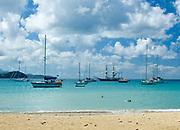 Pigeon Island bay with sailboats