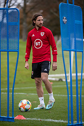 CARDIFF, WALES - Sunday, November 17, 2019: Wales' Joe Allen during a training session at the Vale Resort ahead of the final UEFA Euro 2020 Qualifying Group E match against Hungary. (Pic by David Rawcliffe/Propaganda)