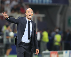 August 8, 2017 - Skopje, Macedonia - Zinedine Zidane, Manager of Real Madrid reacts during the UEFA Super Cup match between Real Madrid and Manchester United at National Arena Filip II Macedonian on August 8, 2017 in Skopje, Macedonia. (Credit Image: © Ahmad Mora/NurPhoto via ZUMA Press)