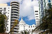 Art deco St Moritz Hotel, Loews, Royal Palm and high rise apartments Ocean Drive, Miami South Beach, Florida USA