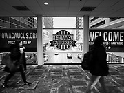 31 JANUARY 2020 - DES MOINES, IOWA: Downtown Des Moines is preparing the caucuses, which are Monday, February 3. The city has hung banners throughout the city center and put signs in the skywalk. Some candidates are also buying advertising in the skywalk.      PHOTO BY JACK KURTZ