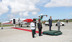 Prince Harry (second right) leaves Eugene F. Correia International Airport in Georgetown, Guyana, during an official visit to the Caribbean.
