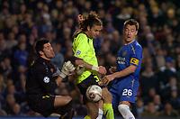 Photo: Alan Crowhurst.<br />Chelsea v Barcelona. UEFA Champions League. 22/02/2006. <br />Barcelona's Thiago Motta scores an own goal.