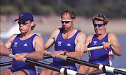 2000_Sydney_Olympic-Regatta  .GBR M4- Gold Medal winners  lef to right,   Tim Foster Steve Redgrave,and James Cracknell. 2000 Olympic Regatta Sydney International Regatta Centre (SIRC) 2000 Olympic Rowing Regatta00085138.tif