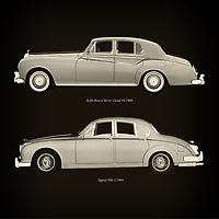 For the lover of old classic cars, this combination of a Rolls Royce Silver Cloud III 1963 and Jaguar MK-2 1963 is truly a beautiful work to have in your home.<br /> The classic Rolls Royce Silver Cloud III and the beautiful Jaguar MK-2 are among the most beautiful cars ever built.<br /> You can have this work printed in various materials and without loss of quality in all formats.<br /> For the oldtimer enthusiast, the series by the artist Jan Keteleer is a dream come true. The artist has made a fine selection of the very finest cars which he has meticulously painted down to the smallest detail. – –<br /> -<br /> <br /> BUY THIS PRINT AT<br /> <br /> FINE ART AMERICA<br /> ENGLISH<br /> https://janke.pixels.com/featured/rolls-royce-silver-cloud-iii-1963-and-jaguar-mk-2-1963-jan-keteleer.html<br /> <br /> WADM / OH MY PRINTS<br /> DUTCH / FRENCH / GERMAN<br /> https://www.werkaandemuur.nl/nl/werk/Rolls-Royce-Silver-Cloud-III-1963-en-Jaguar-MK-2-1963/757788/93?mediumId=1&size=60x60<br /> –