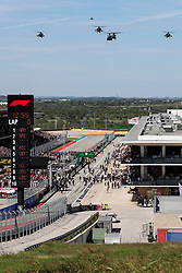 October 21, 2018 - Austin, TX, U.S. - AUSTIN, TX - OCTOBER 21: Helicopters perform fly over prior to the F1 United States Grand Prix on October 21, 2018, at Circuit of the Americas in Austin, TX. (Photo by John Crouch/Icon Sportswire) (Credit Image: © John Crouch/Icon SMI via ZUMA Press)