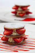 May0024375 . Daily Telegraph..DT Weekend.Restaurant Review..Strawberries with Vanilla Cream Sable served in The Dining Room at the Buxted Park Hotel in East Sussex ...London 13 July 2010............Not Getty.Not Reuters.Not AP.Not Reuters.Not PA