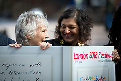 © London News Pictures. 26/04/2012. London, UK. Actress Julie Walters   (left) and Actress Meera Syal MBE (right)  at the launch of the London 2012 Festival at the Tower of London on April 26, 2012. London 2012 Festival  is a festival celebrating the 2012 Olympic Games in London. Photo credit : Ben Cawthra/LNP