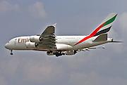 A6-EEK Emirates Airways Airbus A380 at Milan, Malpensa