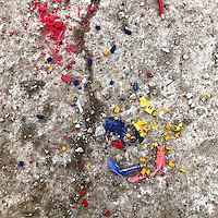 Crayons lay crumbled on a road in Valley Forge, PA January 9, 2017.