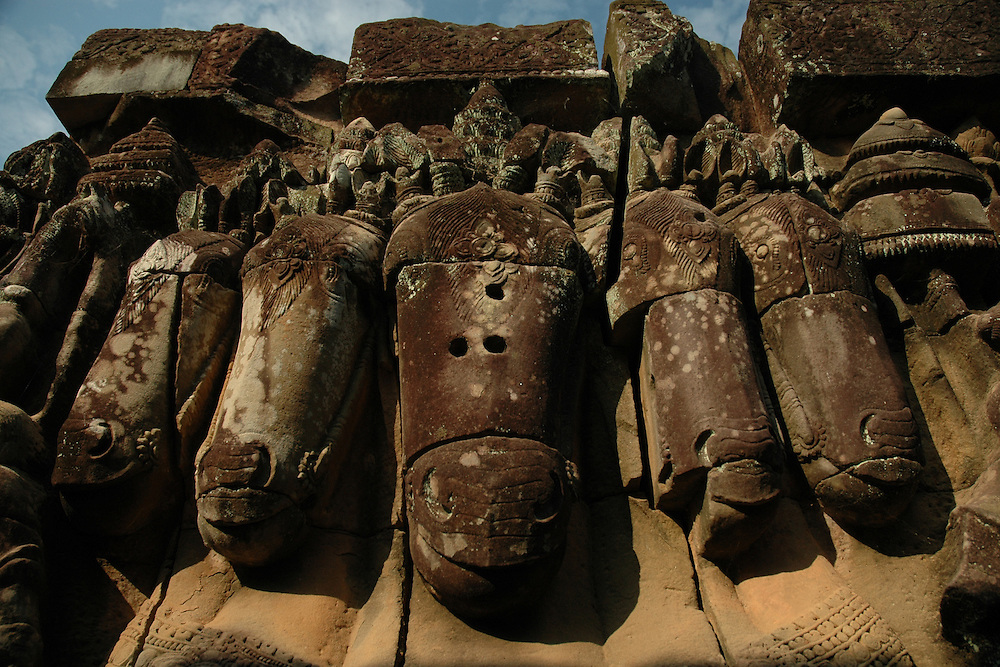 This image of a horse with 5 heads was shot at the famous Terrace of Elephants at the Angkor Thom city in the Angkor temple complex in Siem Reap, Cambodia. <br /> <br /> The Terrace of Elephants, named  because of the elephant bas-reliefs on its wall and the elephant statues flanking the staircase, was used as a giant viewing platform for public ceremonies and extends for over 1000 feet (350 meters.) <br /> <br /> Angkor Thom is the last and most enduring city of the Khmer empire. Built as a square with sides that run exactly north to south and east to west by King Jayavarman VII, Angkor Thom is almost 4 sq miles or 10 sq km on the right bank of the Siem Reap River, a tributary of Tonle Sap Lake.<br /> <br /> Quite a few of the temples at Angkor have been restored and represent a most magnificent site of Khmer architecture including the world's largest single religious monument, the breathtaking Angkor Wat.