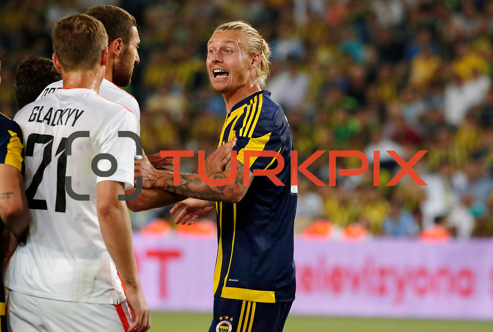 Fenerbahce's  Kjær (R) and Shakhtar Donetsk's (L) Glaokiy during their UEFA Champions league third qualifying round first leg soccer match Fenerbahce between Shakhtar Donetsk at the Sukru Saracaoglu stadium in Istanbul Turkey on Tuesday 28 July 2015. Photo by Aykut AKICI/TURKPIX