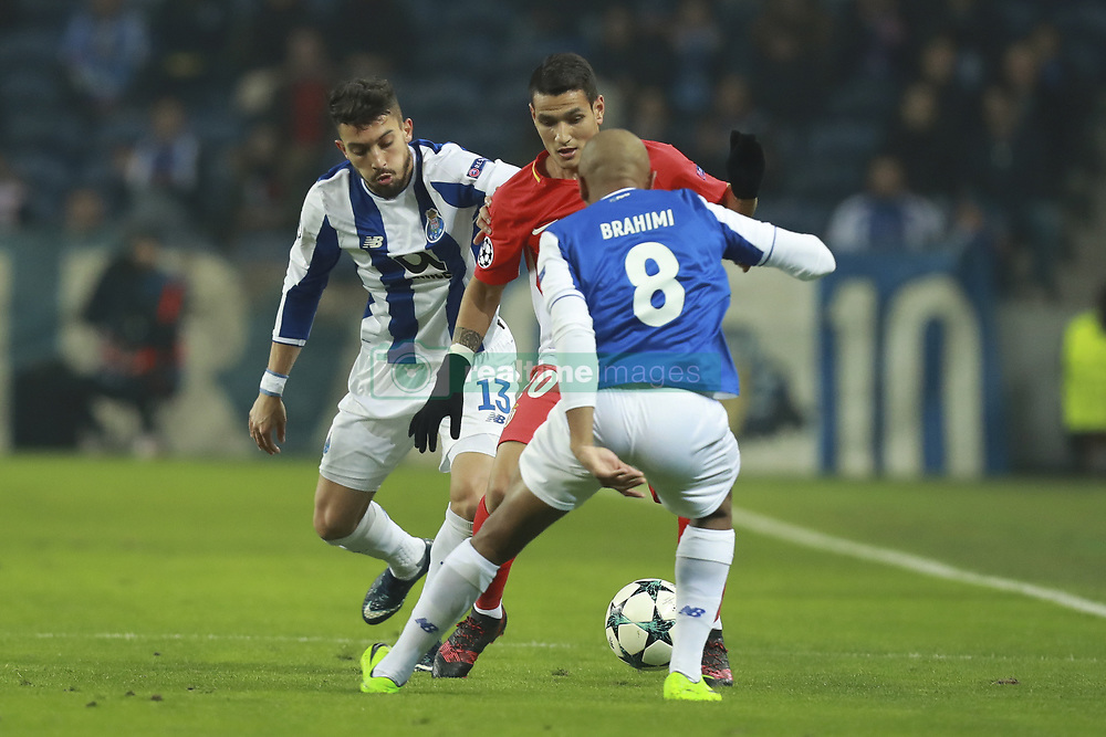 December 6, 2017 - Na - Porto, 06/12/2017 - Football Club of Porto received, this evening, AS Monaco FC in the match of the 6th Match of Group G, Champions League 2017/18, in Estádio do Dragão. Alex Telles; Rony Lopes; Brahimi  (Credit Image: © Atlantico Press via ZUMA Wire)