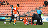 Blackpool's Matty Virtue receives treatment after a tackle by Fleetwood Town's Nathan Sheron for which Referee Darren Bond issued a red card<br /> <br /> Photographer Stephen White/CameraSport<br /> <br /> The EFL Sky Bet League One - Blackpool v Fleetwood Town - Monday 22nd April 2019 - Bloomfield Road - Blackpool<br /> <br /> World Copyright © 2019 CameraSport. All rights reserved. 43 Linden Ave. Countesthorpe. Leicester. England. LE8 5PG - Tel: +44 (0) 116 277 4147 - admin@camerasport.com - www.camerasport.com<br /> <br /> Photographer Stephen White/CameraSport<br /> <br /> The EFL Sky Bet Championship - Preston North End v Ipswich Town - Friday 19th April 2019 - Deepdale Stadium - Preston<br /> <br /> World Copyright © 2019 CameraSport. All rights reserved. 43 Linden Ave. Countesthorpe. Leicester. England. LE8 5PG - Tel: +44 (0) 116 277 4147 - admin@camerasport.com - www.camerasport.com