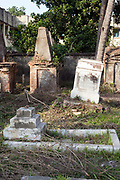Tombs and graves in the French cemetary in Chandannagar, India