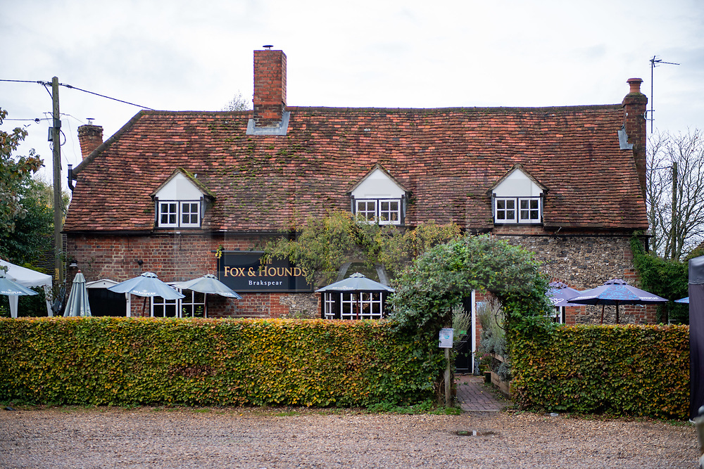 © Licensed to London News Pictures. 24/10/2020. Watlington Hill, UK. The Fox & Hounds pub in the Christmas Common area of Watlington, police are tentatively linking the murder investigation to reports of a man acting suspiciously near the pub at around 3.30pm on Friday 23/10/2020. A murder investigation has been launched by Thames Valley Police after the body of a woman in her sixties was located in woodland in the Watlington Hill National Trust Estate at approximatly 5:53pm on Friday 23/10/2020. Photo credit: Peter Manning/LNP