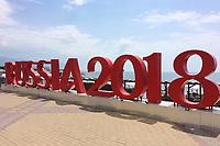Randmotiv,Feature, RUSSIA2018 Schrift entlang der Strandpromenade am Schwarzen Meer. Portugal (POR)-Spanien (ESP), Vorrunde, Gruppe B, Spiel 1, am 15.06.2018 in SOTSCHI,Fisht Olymipic Stadium. Fussball Weltmeisterschaft 2018 in Russland vom 14.06. - 15.07.2018. *** Random Feature RUSSIA2018 Font along the beach promenade on the Black Sea Portugal POR Spain ESP Preliminary Group B Game 1 on 15 06 2018 in SOCHI Fisht Olymipic Stadium Football World Cup 2018 in Russia from 14 06 15 07 2018