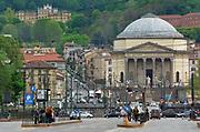 Turin, Piedmont/Italy -04/20/2019- Turin the Neoclassical church of Gran Madre di Dio.