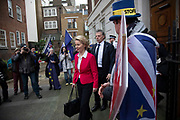 President of the EU Commission, Ursula von der Leyen, leaving Europe House, the European Parliament Liason office in the UK as Anti Brexit protesters shout encouragement and support to her in Westminster before her meeting with the Prime Minister to discuss the impending negotioations and timeframe for the UKs withdrawal from the EU, on 8th January 2020 in London, England, United Kingdom. Ursula Gertrud von der Leyen is a German politician and the President of the European Commission since 1 December 2019.