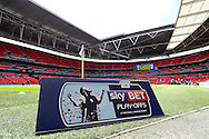 a general view of a Skybet Playoff sign on Wembley pitch before k.o Skybet football league one play off final match , Leyton Orient  v Rotherham Utd at Wembley Stadium in  London on Sunday 25th May 2014.<br /> pic by John Patrick Fletcher, Andrew Orchard sports photography.