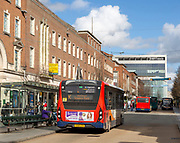 John Lewis store and buses in High Street, Exeter, Devon, England, UK