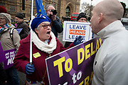 Anti Brexit pro Europe demonstrators argue in debate with a pro Brexit Leave means leave protester in Westminster opposite Parliament on the day MPs vote on EU withdrawal deal amendments on 29th January 2019 in London, England, United Kingdom.