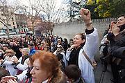 """Hug the hospital Gregorio Marañon"" against the privatization of the public health in Spain"