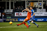 Luton Town FC forward James Collins (19) gets in a shot during the EFL Sky Bet League 1 match between Luton Town and Peterborough United at Kenilworth Road, Luton, England on 19 January 2019.