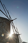 Low angle view of famous historical stone windmills at Tampakika, Chios, Greece