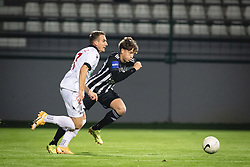 Tilen Pečnik of Aluminij and Kai Cipot of Mura during football match between NS Mura and Aluminij in 7th Round of Prva liga Telekom Slovenije 2020/21, on October 18, 2020 in Mestni stadion Fazanerija, Murska Sobota, Slovenia. Photo by Blaž Weindorfer / Sportida