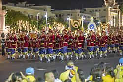 People wait for the procession on land to see the King, Coronation of the king of Thailand,Thaïlande, Rama X, His Majesty King Maha Vajiralongkorn Bodindradebayavarangkun, in Bangkok, Thailand, on May 05, 2019. Photo by Loic Baratoux /ABACAPRESS.COM