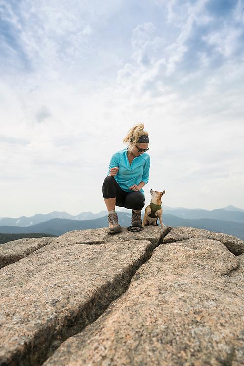Woman and her Chihauhau on Cscade Mountain