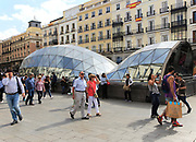 Glass building part of Sol metro station,  Plaza de la Puerta del Sol, Madrid city centre, Spain