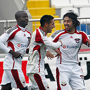 Gaziantepspor's Ismael SOSA (C) celebrate his goal with team mate during their Turkish superleague soccer match Kasimpasaspor between Gaziantepspor at the Recep Tayyip Erdogan stadium in Istanbul Turkey on Sunday 23 January 2011. Photo by TURKPIX