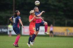 Spela Rozmaric of ZNK Pomurje vs. Mara Batea of Olimpia Cluj Napoca during the UEFA Women's Champions League Qualifying Match between ZNK Teleing Pomurje (SLO) and Olimpia Cluj (ROU) at Sportni Park on August 16, 2015 in Beltinci, Slovenia. Photo by Mario Horvat / Sportida