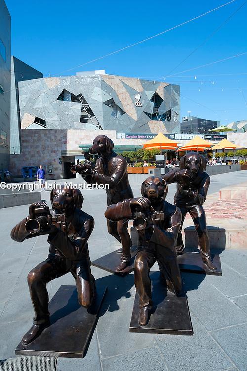Sculpture outside Federation Square in Melbourne Australia