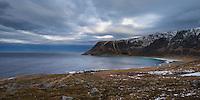 View down to Unstad beach, Vestvågøy, Lofoten Islands, Norway