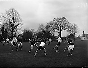 26/03/1960<br /> 03/26/1960<br /> 26 March 1960<br /> Interprovincial Hockey: Ulster v Combined Munster and South East at Claremount Road, Dublin. Munster right-half, Bailey (right) takes his team-mates pass, despite the attentions of two Ulster players, Bowden (left) and Shaw.