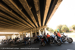 Traffic backed as bikes try to get into Destination Daytona during Biketoberfest, Ormond Beach, FL, October 18, 2014, photographed by Michael Lichter. ©2014 Michael Lichter