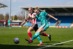 CHESTERFIELD, ENGLAND - Sunday, April 25, 2021: Liverpool's Melissa Lawley (R) and Sheffield United's Maddy Cusack during the FA Women's Championship game between Sheffield United FC Women and Liverpool FC Women at the Technique Stadium. Liverpool won 1-0. (Pic by David Rawcliffe/Propaganda)
