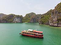 Aerial view of traditional boat at Halong Bay, Vietnam.