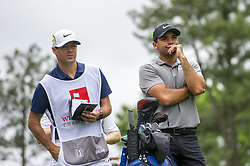 May 5, 2019 - Charlotte, North Carolina, United States of America - Jason Day and his caddie calculate distances on the sixth hole during the final round of the 2019 Wells Fargo Championship at Quail Hollow Club on May 05, 2019 in Charlotte, North Carolina. (Credit Image: © Spencer Lee/ZUMA Wire)
