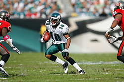 Philadelphia Eagles wide receiver DeSean Jackson #10 carries the ball during the NFL game between the Tampa Bay Buccaneers and the Philadelphia Eagles on October 11th 2009. The Eagles won 33-14 at Lincoln Financial Field in Philadelphia, Pennsylvania. (Photo By Brian Garfinkel)