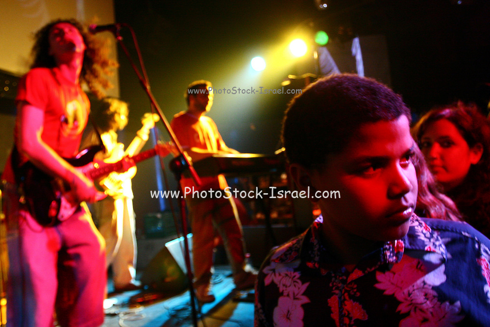 """Israeli bands are preforming at the """"Groove Refugee"""" festival that took place in Tel Aviv. All income will serve the struggle to prevent banishment of children of African labour immigrants and refugees from Israel. Saturday, May 12, 2007."""