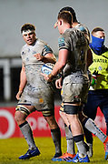 Sale Sharks flanker Jono Ross congratulates lock Cobus Wiese after his try during a Gallagher Premiership Round 7 Rugby Union match, Friday, Jan. 29, 2021, in Leicester, United Kingdom. (Steve Flynn/Image of Sport)